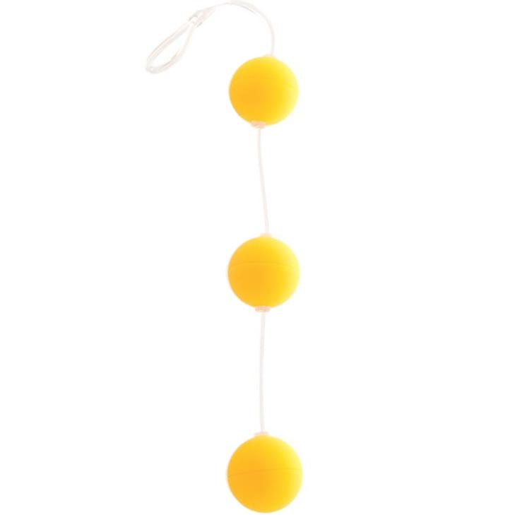 Анальные бусы из 3-х желтых шариков. Вид 1.