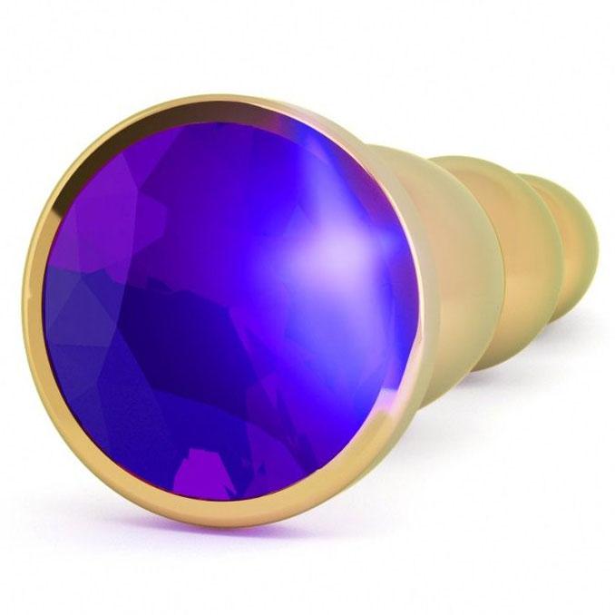 Анальная пробка-ёлочка с фиолетовым кристаллом (14 см). Вид 2.