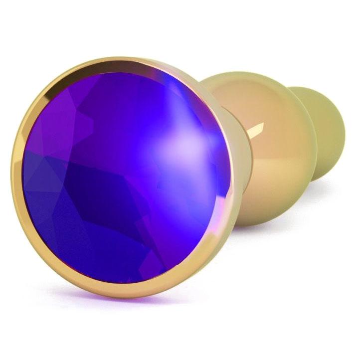 Золотистая анальная пробка с фиолетовым кристаллом (14 см). Вид 2.