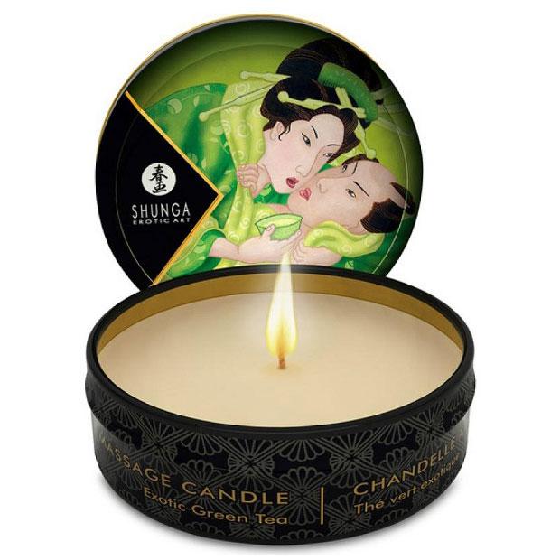 Массажная свеча Exotic Green Tea с ароматом зелёного чая (30 мл). Вид 1.