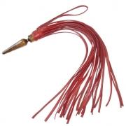 Красная кожаная плеть «Комета»  с рукоятью в виде анальной пробки