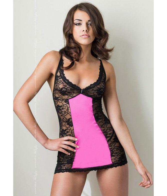 Кружевная сорочка Evie на шнуровке сзади (M-L, черная с розовым). Вид 1.