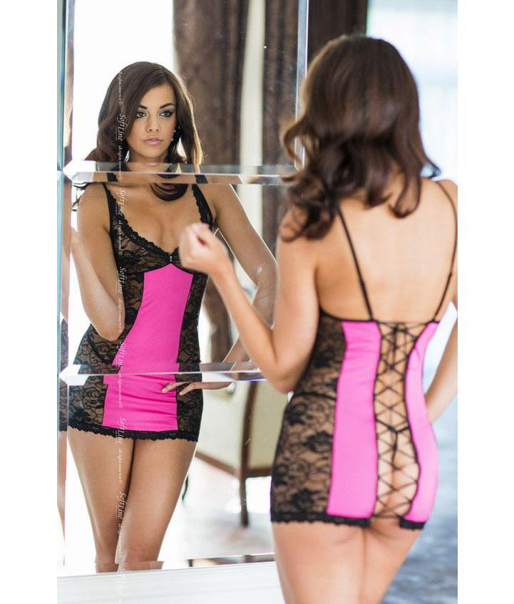 Кружевная сорочка Evie на шнуровке сзади (M-L, черная с розовым). Вид 2.