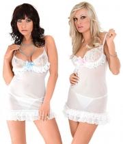 Прозрачная сорочка с кружевным лифом Sandra (S, белая)