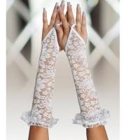 Длинные кружевные перчатки на пальчик (белые)