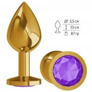 Золотистая средняя пробка с фиолетовым кристаллом
