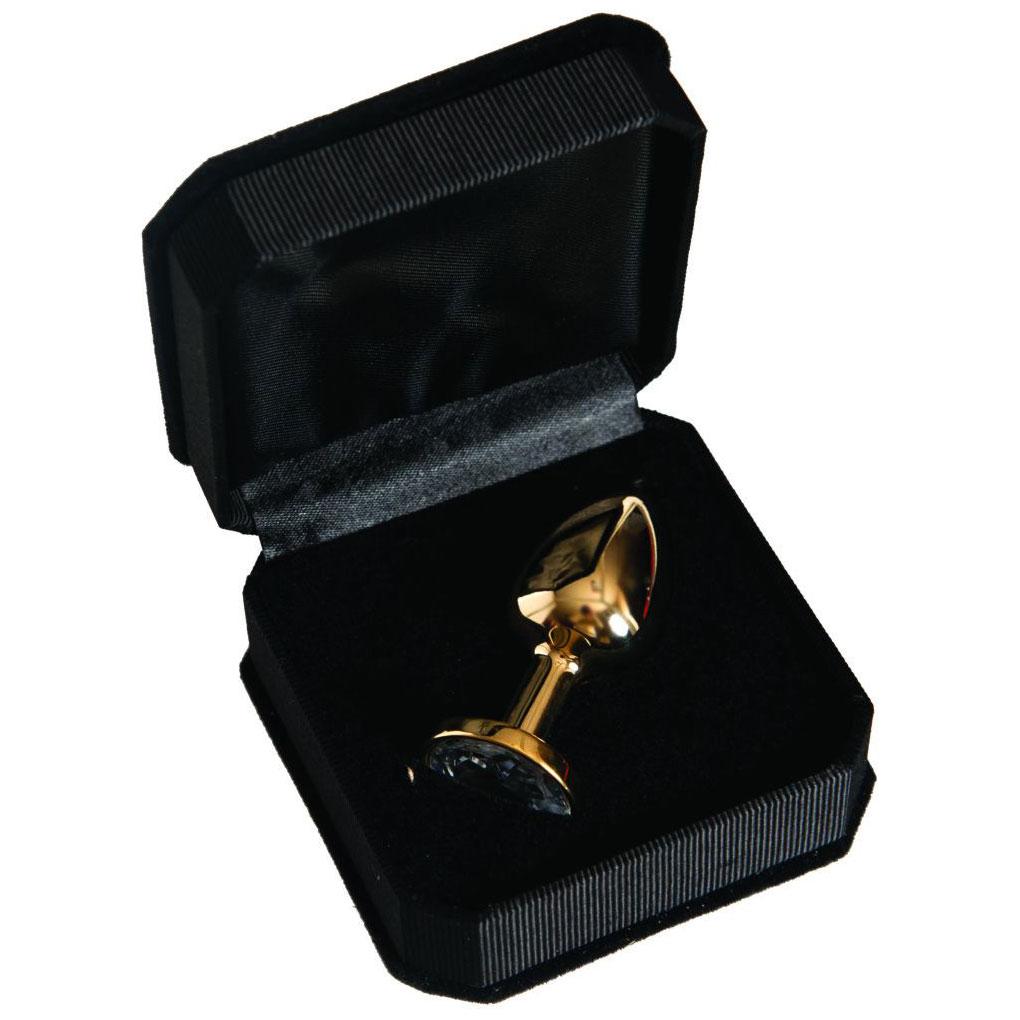 Золотистая анальная втулка с прозрачным кристаллом (6 см). Вид 2.