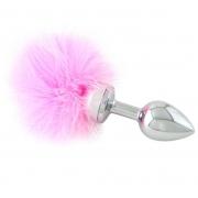 Малая анальная втулка с розовой опушкой