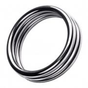 Металлическое эрекционное кольцо с рёбрышками (размер L)