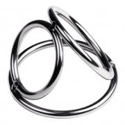 Тройной бондаж для пениса из металлических колец (размер S)
