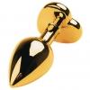 Золотистая анальная пробка с кристаллом - сердцем. Вид 2.
