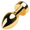Золотистый каплевидный анальный плаг с чёрным камнем. Вид 1.